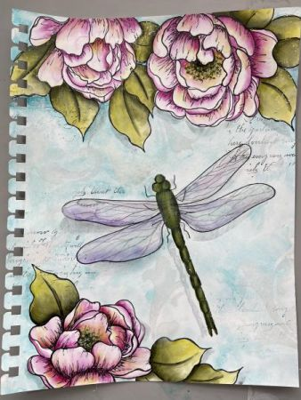 Peonies & Dragonfly Art Journal Page  Sandy McTier  Mar 31, 2021